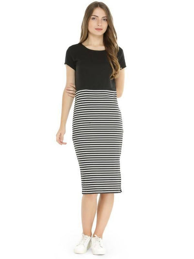 Women's Women's Striped Midi Dress - MANERAA