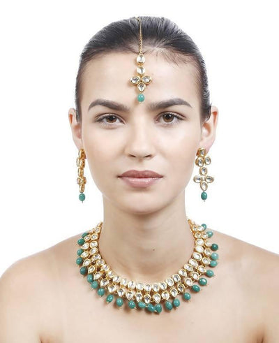 Kundan Necklace, Earring And Maang Tika Set Artificial Fashion Jewellery For Women Green Color - MANERAA