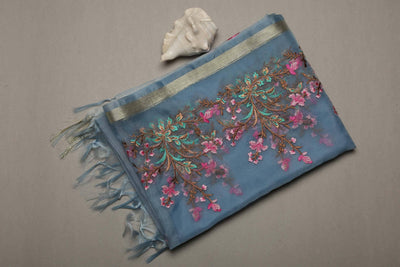 Ombre Light Greyish Blue Organza Dupatta with Heavy Resham Embroidery - MANERAA