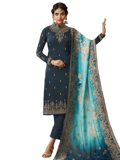 Stylee Lifestyle Navy Blue Satin Embroidered Dress Material - MANERAA