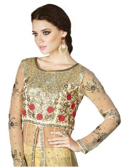 Stylee Lifestyle Off White Net Embroidered Dress Material - MANERAA