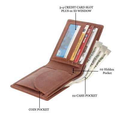 Men Brown Genuine Leather RFID Wallet 3 Card Slot 2 Note Compartment - MANERAA