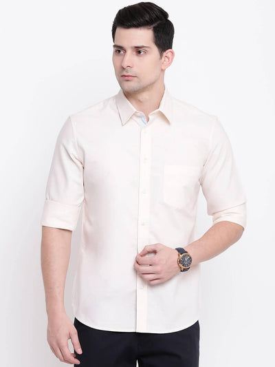 Men's Cream Solid Casual Cotton Shirt (Size:38) - MANERAA
