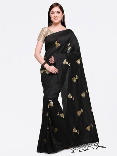 Black Embroidered Poly Georgette Saree - MANERAA