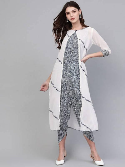Women's Embroidered Shrug With Printed Jumpsuit - MANERAA