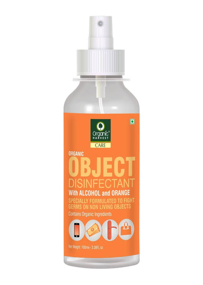 Organic Harvest Objects Disinfectant with Alcohol and Orange, Contains Organic Ingredients, Specially formulated to fight Germs on Non Living Objects, 100 ml - MANERAA