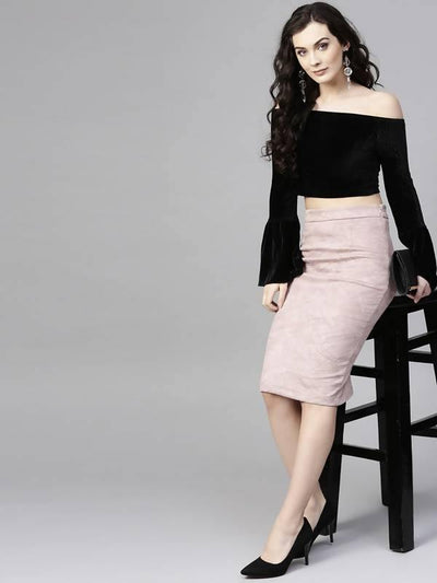 Women's Suede Pencil Skirt - MANERAA