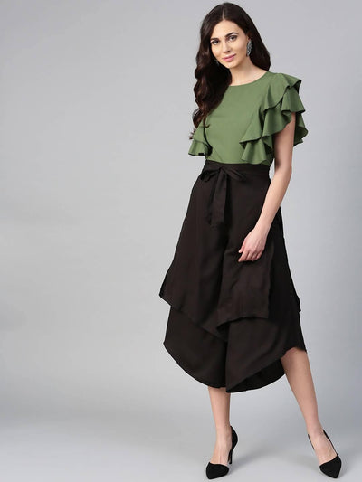 Bitterlime Women Olive Princess Ruffle Sleeveless Top & Layered Trouser Set - MANERAA