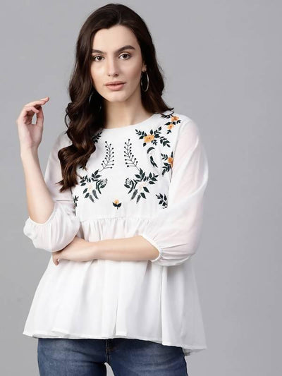 Women's Floral Embroidered Sheer Top - MANERAA