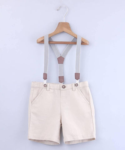 Beige Bermuda Shorts With Suspenders - MANERAA