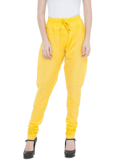 Women Cotton Yellow Churidar - MANERAA