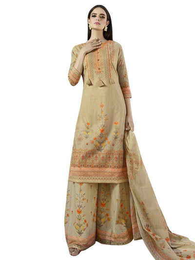 Stylee Lifestyle Beige Cotton Printed Dress Material - MANERAA