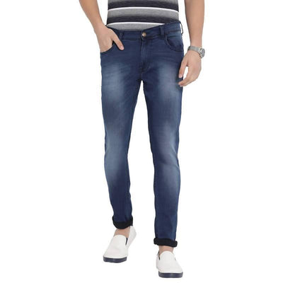 Navy Blue Colour Slim Fit Mid Rise Streatch Jeans - MANERAA