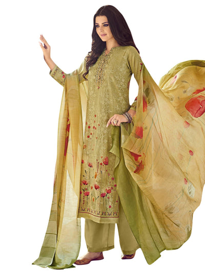 Stylee Lifestyle Green Pure Silk Printed Dress Material - MANERAA