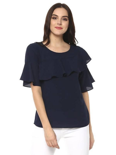 Women's Solid Diagonal Ruffle Top - MANERAA