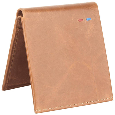 Men Brown Pure Leather RFID Wallet 4 Card Slot 2 Note Compartment - MANERAA