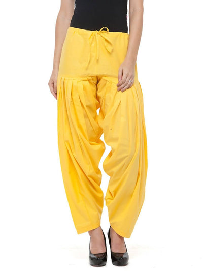 Yellow Cotton Solid Patiala - MANERAA