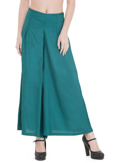 Women Solid Bottle Green Rayon Flared Palazzo - MANERAA