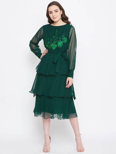 Bitterlime Women Green Embroidered Fit and Flare Dress - MANERAA