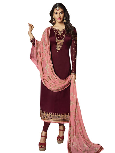 Stylee Lifestyle Maroon Satin Embroidered Dress Material - MANERAA