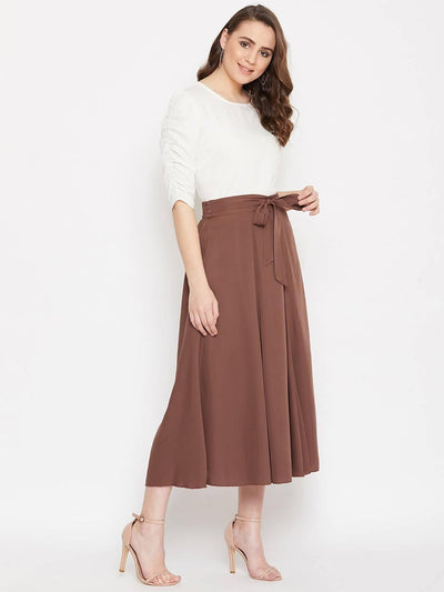 Women's Solid Round Neck Top With Flayered Skirt Set - MANERAA