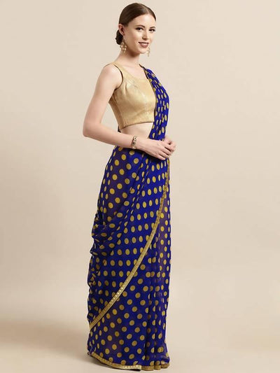 Blue & Yellow Poly georgette Polka dots print with printed lace & solid dupion blouse - MANERAA