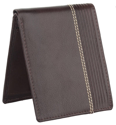 Men Brown Pure Leather RFID Wallet 3 Card Slot 2 Note Compartment - MANERAA