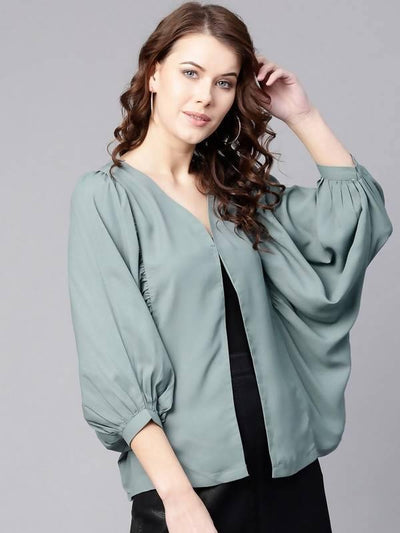 Women's Solid Flared Cape Top - MANERAA