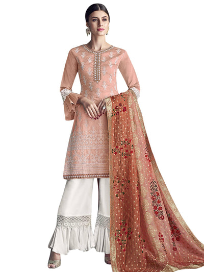 Stylee Lifestyle Peach Chanderi Silk Embroidered Dress Material - MANERAA