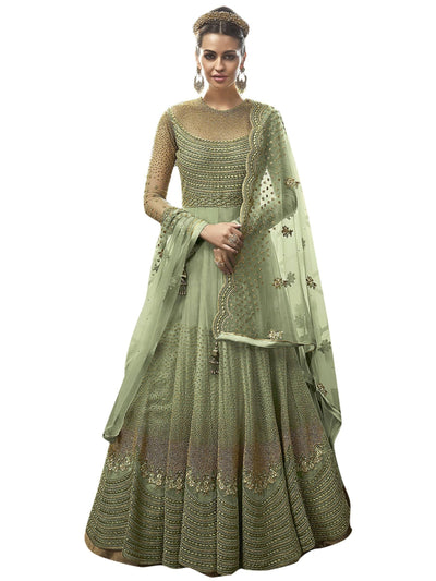 Stylee Lifestyle Green Net Embroidered Dress Material - MANERAA