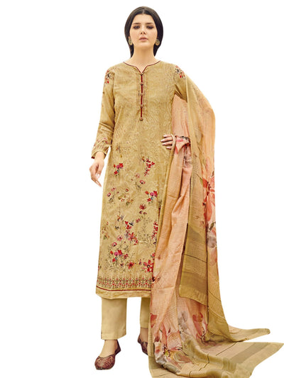 Stylee Lifestyle Yellow Pure Silk Printed Dress Material - MANERAA