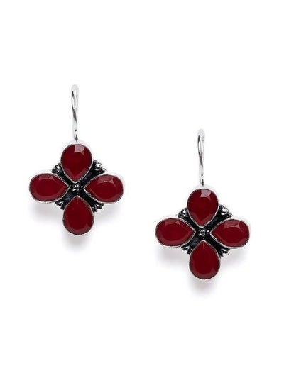 Alloy And Artificial Stones Drop Earrings Artificial Fashion Jewellery For Women Red Color - MANERAA
