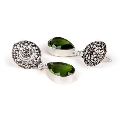 Alloy And Artificial Stones Drop Earrings Artificial Fashion Jewellery For Women Green Color - MANERAA