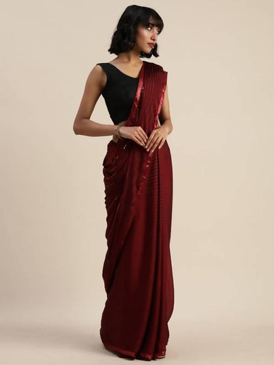 Cocktail Sequenced Metallic color striped party wear saree - MANERAA