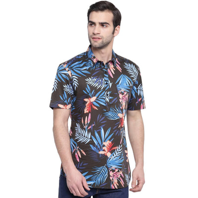 Volcanic Sand Coffee Colour Based Printed Beach Wear Casual Shirt (Size:38) - MANERAA