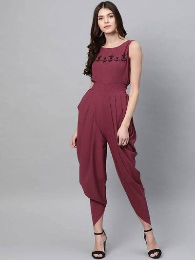 Women's Embroidered Cowl Jumpsuit - MANERAA