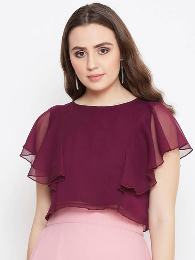 Bitterlime Women Solid Ruffled Crop Top - MANERAA
