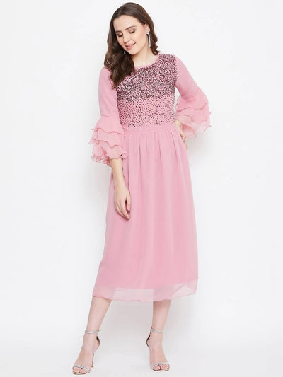 Bitterlime Women Peach Embellished Fit and Flare Dress - MANERAA