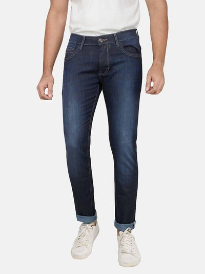 Indigo Colour Slim Fit Mid Rise Streatch Jeans - MANERAA