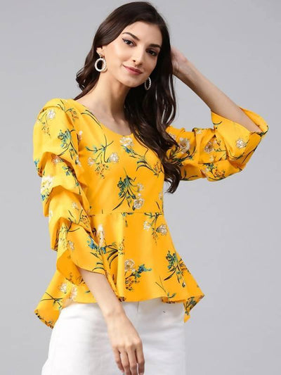 Women's Yellow Floral Printed Peplum Top - MANERAA