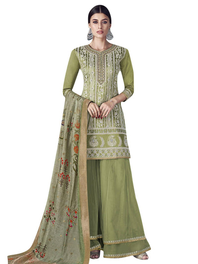 Stylee Lifestyle Green Chanderi Silk Embroidered Dress Material - MANERAA