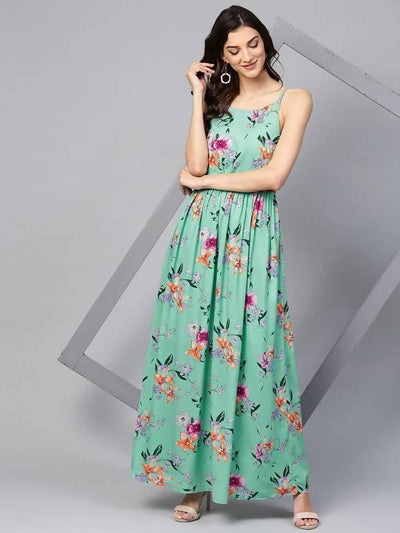 Women's Green Floral Strappy Maxi Dress - MANERAA