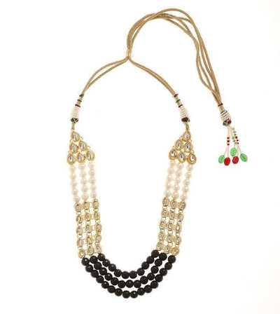 Kundan Necklace And Earring Set Artificial Fashion Jewellery For Women Black Color - MANERAA
