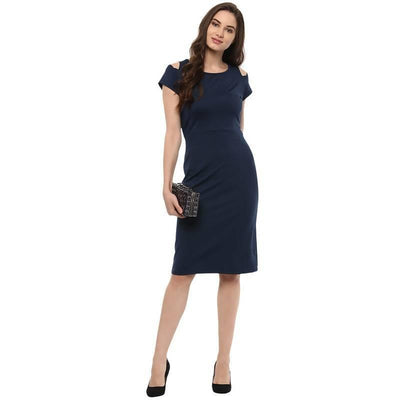 Women's Women's Bodycon Dress With Shoulder Cut - MANERAA