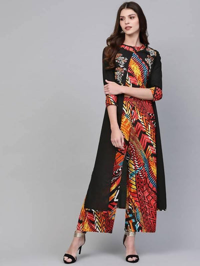 Women's Embroidered Shrug With Printed Top And Pants - MANERAA