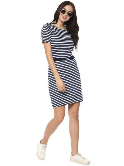 Women's Women's Thick Stripe Plain Dress - MANERAA