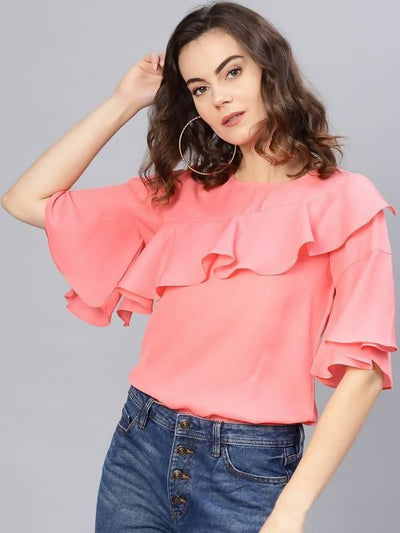 Women's Solid Ruffle Top - MANERAA