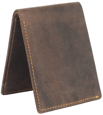 Men Brown Genuine Leather RFID Wallet 6 Card Slot 1 Note Compartment - MANERAA