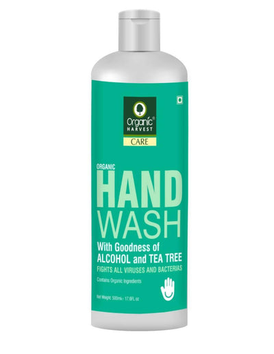 Organic Harvest Hand Wash with Goodness of Alcohol and Tea Tree, Contains Organic Ingredients, Specially formulated to fight Germs on Hands, 500 ml - MANERAA