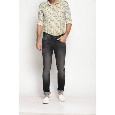 Grey Colour Slim Fit Mid Rise Streatch Jeans - MANERAA
